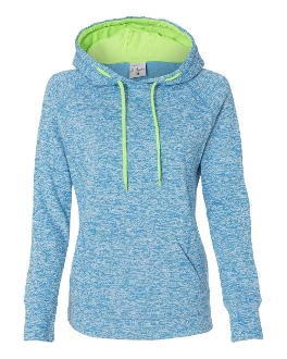 J. America - Ladies' Cosmic Poly Contrast Hooded Pullover Sweats